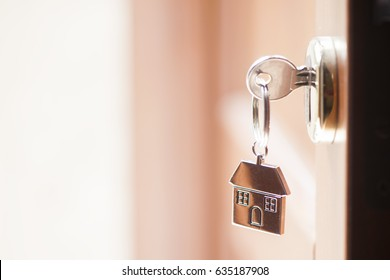 House key in the door