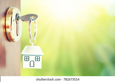 House key in the door with green background