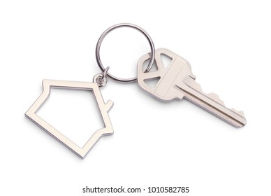House Key With House Keychain Isolated on a White Background. - Shutterstock ID 1010582785