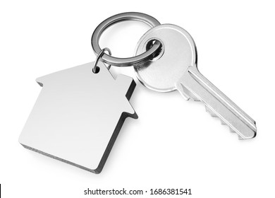 House key with a house shaped keychain, isolated on white background - Shutterstock ID 1686381541
