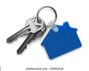 House keys with Blue House Key chain Isolated on White Background.