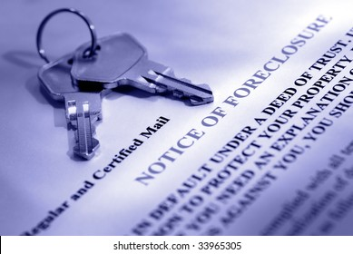 House keys and foreclosure notice