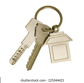 House keys and key-chain on white background