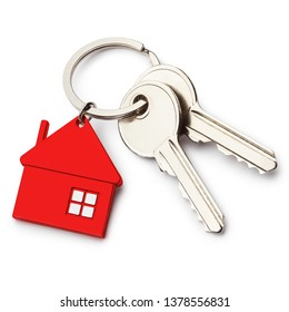 House keys with red house shaped keychain, isolated on white background