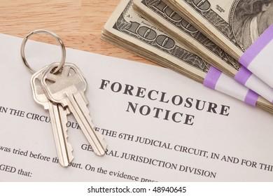 House Keys, Stack of Money and Foreclosure Notice - Cash for Keys Program.