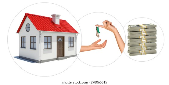 House with keys and stack of money on isolated white background