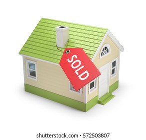 "House with the label ""sold"". 3d image. Isolated white background."