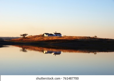 house and lake of alqueva, south of Portugal