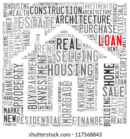House loan info-text graphics and arrangement concept on white background (word cloud)