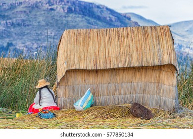 House of local people on floating Uros island, Lake titicaca, Peru