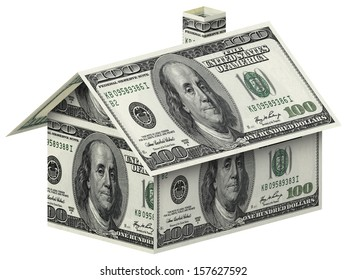 House made of 100 dollar bills over white background