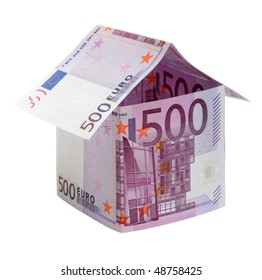 The house  made of 500 Euro  banknotes, isolated on white.