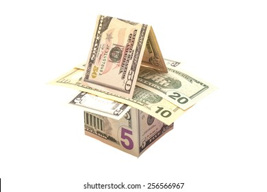 House made of dollar bills isolated