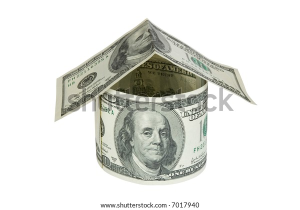 House made of dollars, isolated on white background