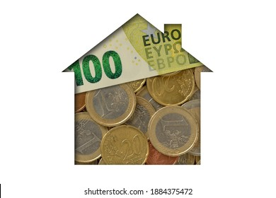 House made of euro coins and banknotes on white background - Concept of house property and real estate business