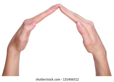 House made of male hands, isolated on white background