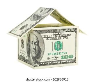 House made of money isolated on white background