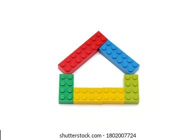 House made of multicolored Lego blocks. Kherson, Ukraine - August 24, 2020.