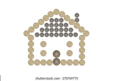 House made out of British Pound Coins