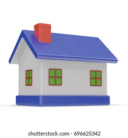 House made of plastic. Isolated on white. 3D illustration