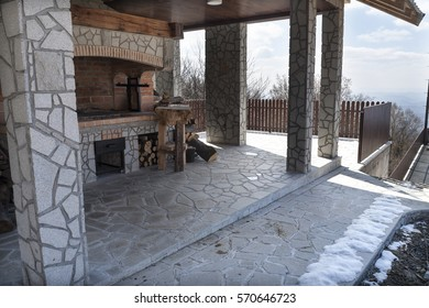 House made of stone and wood built on the mountain