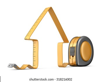 House and measuring tape 3D. Construction tool. Icon isolated on white background