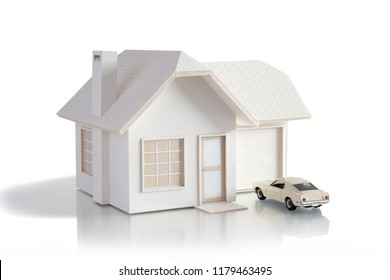 House miniature with car isolated in white background for real estate and construction concepts. House miniature designed and created by contributor.