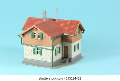 House, model house with a blue background