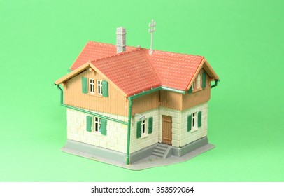 House, model house with a green background