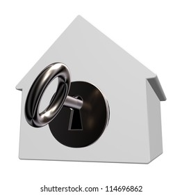 house model with keyhole and key - 3d illustration