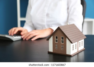 House model on table in real estate agent's office
