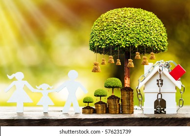A house model with security and lock and family model and money bag tree with growing in public park, saving money for real estate  and property protection concept.