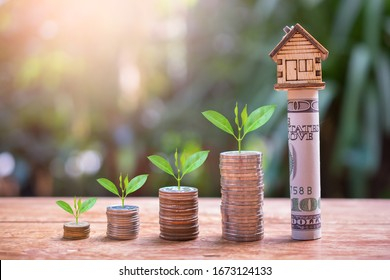 house model set on money for concept investment mortgage finance and home loan refinance