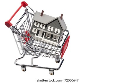 House model in a shopping cart isolated on a white background. Add your text to the space.