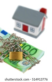 House model toy plastic with bills, chain and padlock