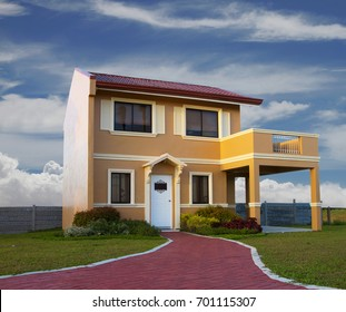 A house modeled from Italian style with nice blue sky background.