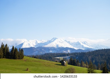 House in the mountains. Beautiful view of the mountain landscape, Tatra National Park, Poland. High Tatras, Carpathians.