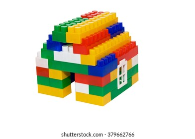 house from multi-colored constructor. children's toys. building and design