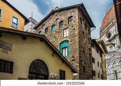 the house and museum  of Dante Alighieri in Florence. Cathedral Santa Maria del Fiore. Italy