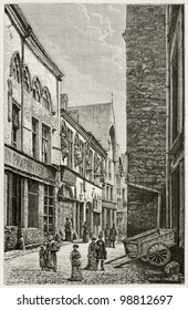 House of musicians old view, rue de Tambour, Reims. Created by De Bar and sargent, published on Magasin Pittoresque, Paris, 1882