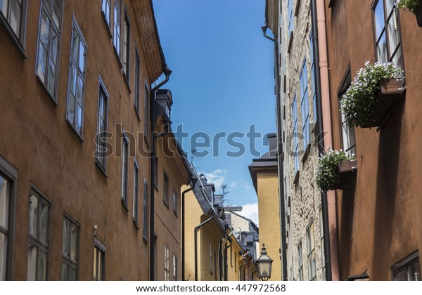 House in a narrow street in Old Town (Gamla Stan) of Stockholm, Sweden