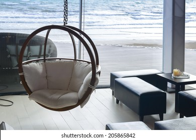 house near beach decoration with hanging chair