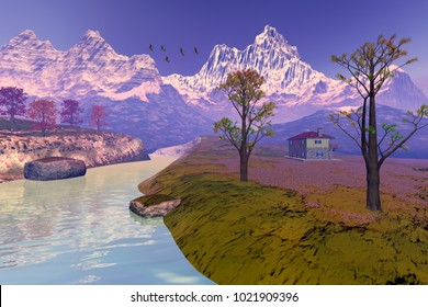 House next to the river, 3D rendering, an autumn landscape, trees with red and yellow leaves, birds in the sky and snow on the peaks of mountains.
