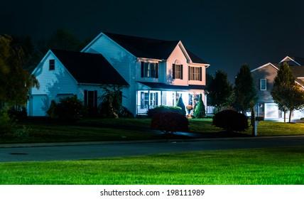 House at night, in Shrewsbury, Pennsylvania.