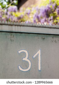 House number 31 (thirty one) on the wall in Germany