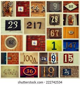 House numbers -Vintage Collage