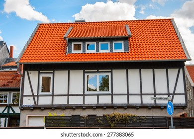 House in the Old town of Gorlar, Lower Saxony, Germany. Old town of Goslar is a UNESCO World Heritage