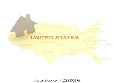 House on a American map. business house concept