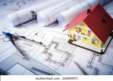 house on blueprints - housing project