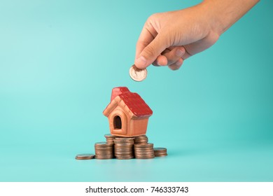 house on coin ,Savings plans for housing concept